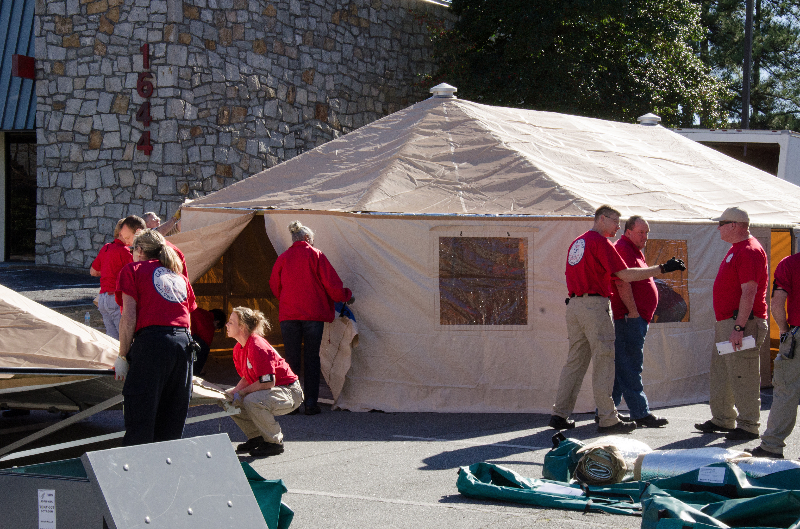 Disaster medical responders practice setting up a Base of Operations.
