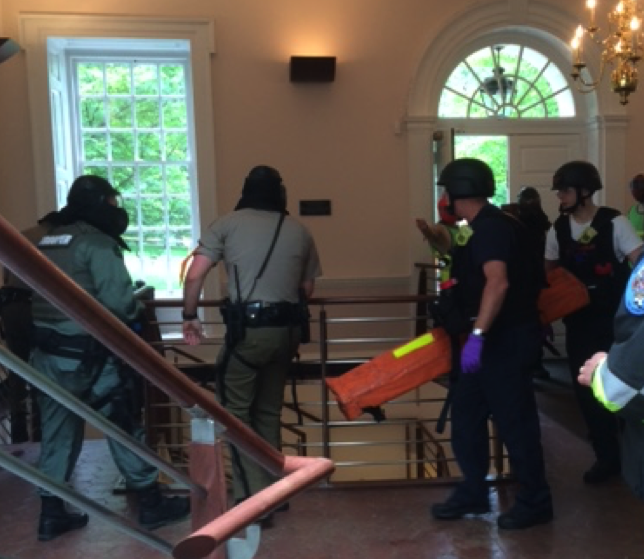 RTF making entry under escort by Maryland State Police (Source: Robert Mueck, 18 May 2016).