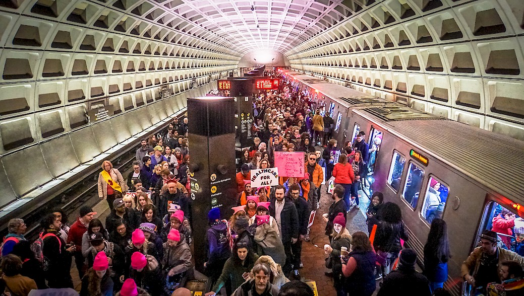 Washington, D.C., Metro station during Women's March (Source: Ted Eytan, 21 January 2017).