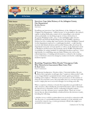 T.I.P.S. (Total Integrated Preparedness Solutions) Volume I, Issue 11 | DomPrep Journal