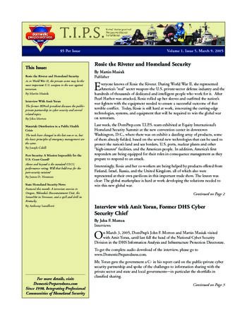 T.I.P.S. (Total Integrated Preparedness Solutions) Volume I, Issue 5 | DomPrep Journal