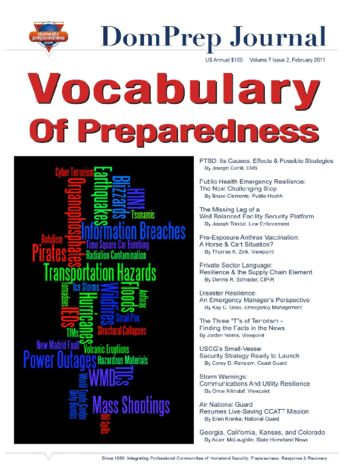 Vocabulary on Preparedness | DomPrep Journal